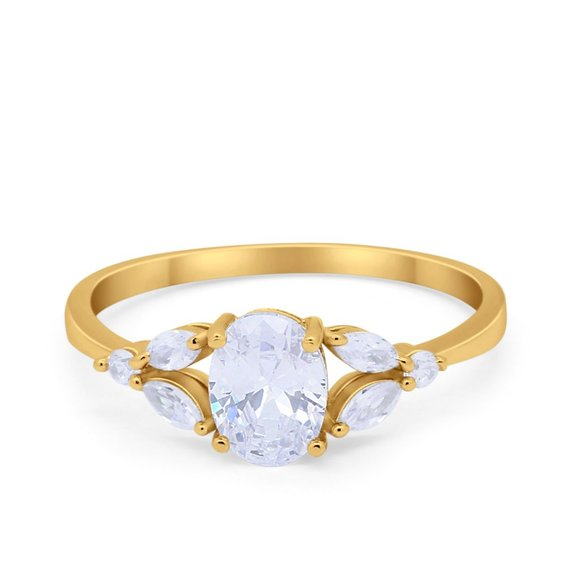 Blue Apple Co. Jewelry - Oval Art Deco Wedding Engagement Ring Marquise CZ
